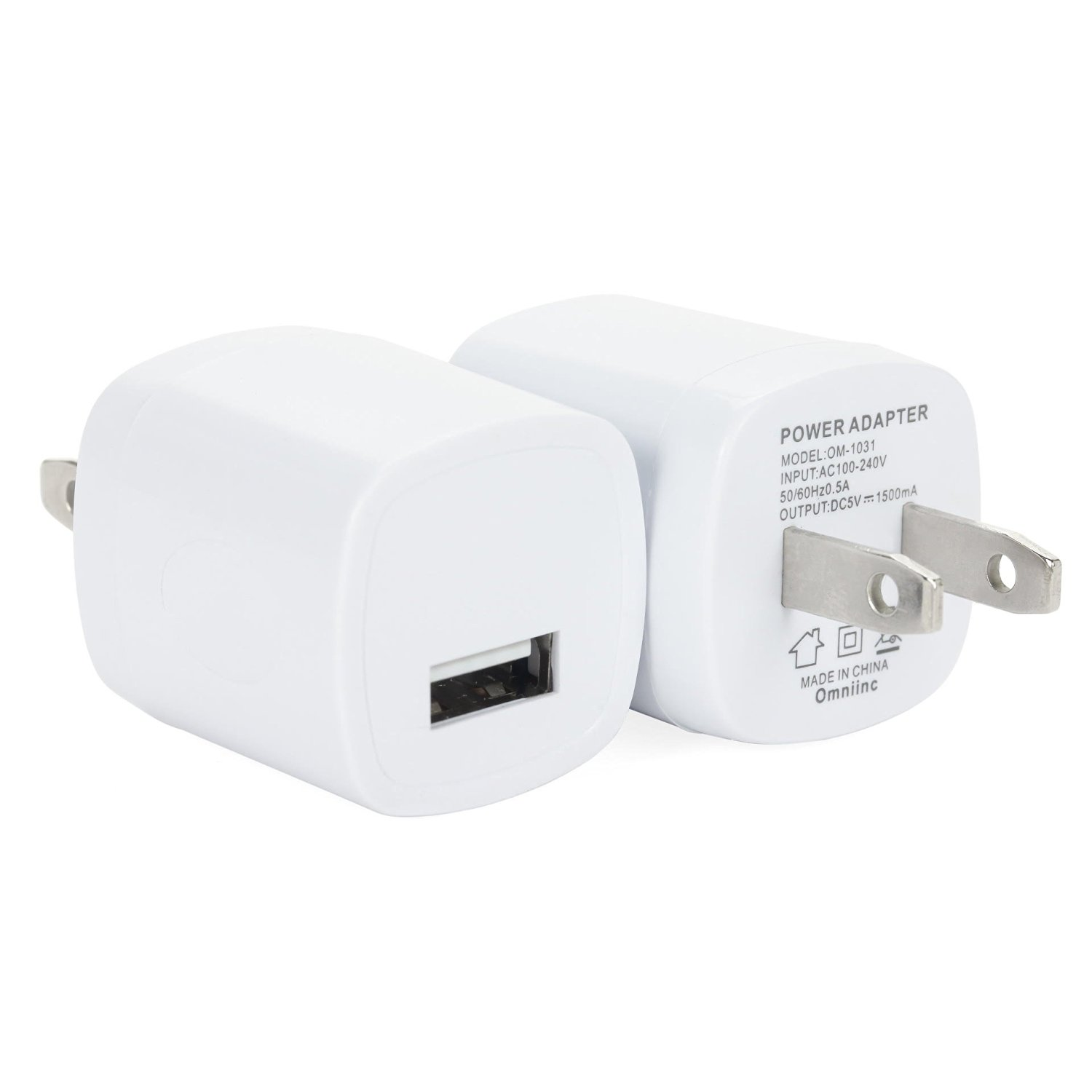 Omni INC 3PCS White Universal USB Port Colors USB AC/DC Power Adapter Home Wall Charger Plug W/ Easy Grip for iPhone 6/6 plus 5S 5 4S Samsung Galaxy S5 S4 ...